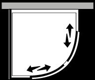 FRSC + FRFI : Halbrund 2 Schiebetüren mit Fixseite (Ecke)