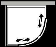 LSSC + LKFI : Halbrund mit 2 Schiebetüren und Fixseite (Ecke)