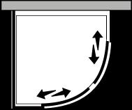 QSSC + QUFI R38 : Halbrund, 2 Schiebetüren mit Fixseite, für Duschteller R.38