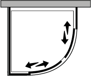 QSSC + QUFI R55 : Halbrund, 2 Schiebetüren mit Fixseite, für Duschteller R.55