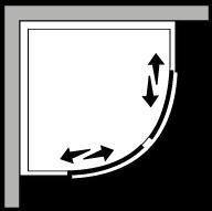 FRSC : Halbrund, 2 Schiebetüren (zusammensetzbar)