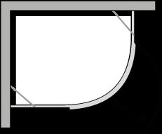 QBCC : Halbrund, 1 Flügeltür, für Duschteller R.38