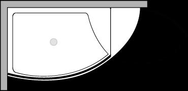 VLPTL + VLFI + VLPO : Duschteller 140 cm breit mit fester Glasscheibe und Tür