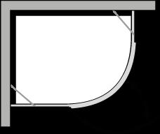 QBCL : Halbrund, 1 Flügeltür, für Duschteller R.38